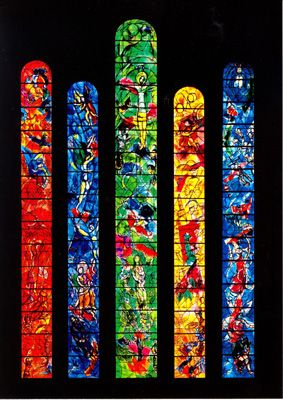 Marc Chagall stained glass windows ~ Frauminster Cathedral, Zurich, Switzerland - like the placement and shapes on this picture... bookmarks?