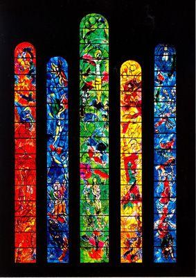 Marc Chagall stained glass windows ~ Frauminster Cathedral, Zurich, Switzerland #Jewish #art #marc-chagall #marcchagall #MarcChagall #chagall