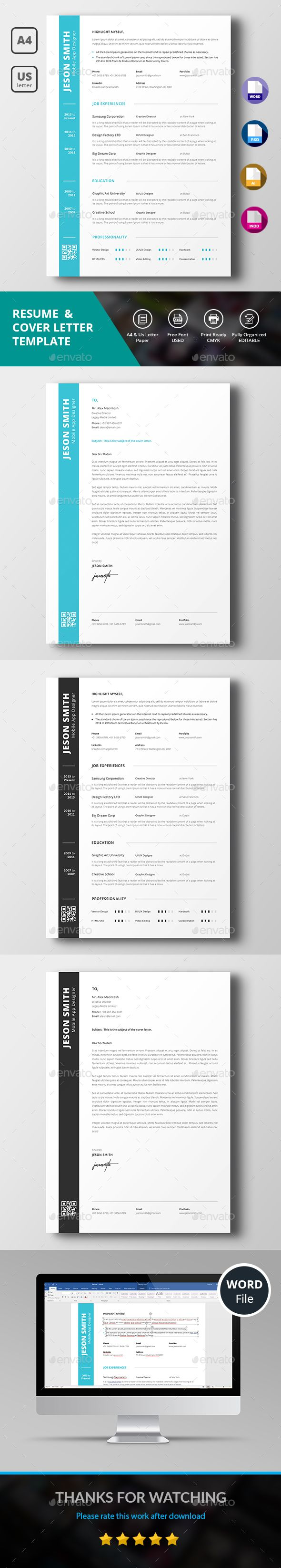 Simple Resume by DesignsTemplate This is Resume & Cover Letter template . This template download contains 300 dpi print-ready CMYK psd files. All main elements are