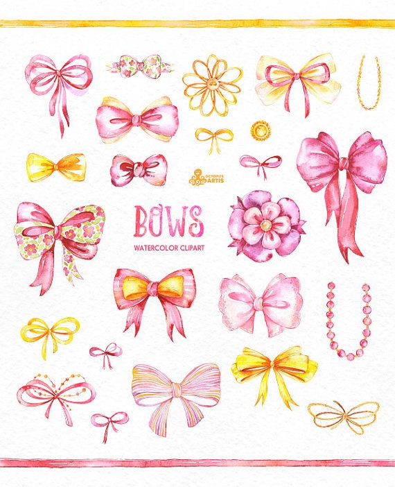 Bows. 26 Watercolor handpainted clipart diy by OctopusArtis