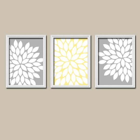 Grey Gray Yellow Flower Burst Dahlia Bloom Artwork Set of 3 Trio Prints Wall Decor Abstract Art Picture Silhouette