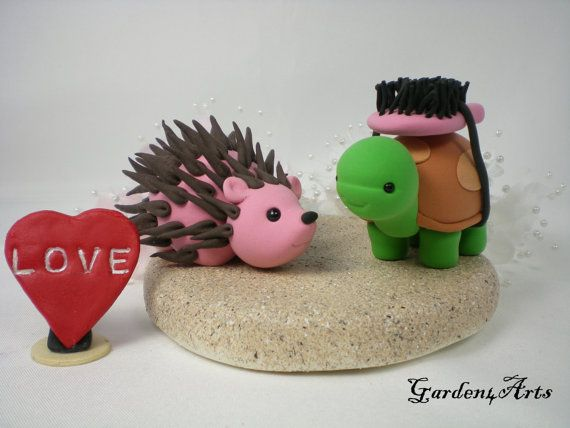 Custom Turtle & Hedgehog Love Wedding Cake Topper by Garden4Arts, $79.00