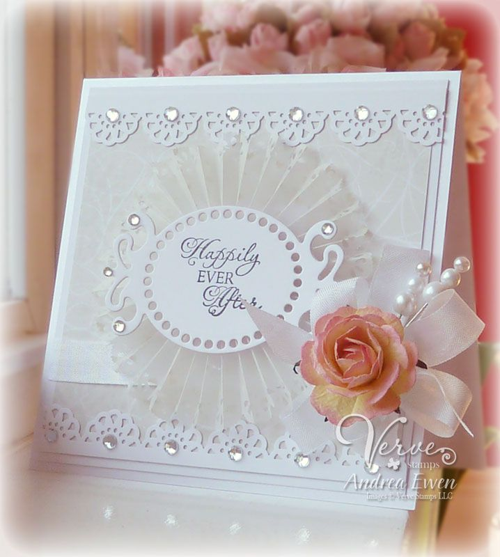 Other Products: Fairy Tales (Verve Stamps), Elegance dp (K & Co.), White, White Shimmer (Papertrey Ink), Versafine Onyx Black ink (Tsukineko), Vellum Hearts (Paper Pizazz), 2-TONE CHAMPAGNE PINK CLASSIC SWEET MULBERRY PAPER ROSES 40mm (Wild Orchid Crafts), Abstract Flo