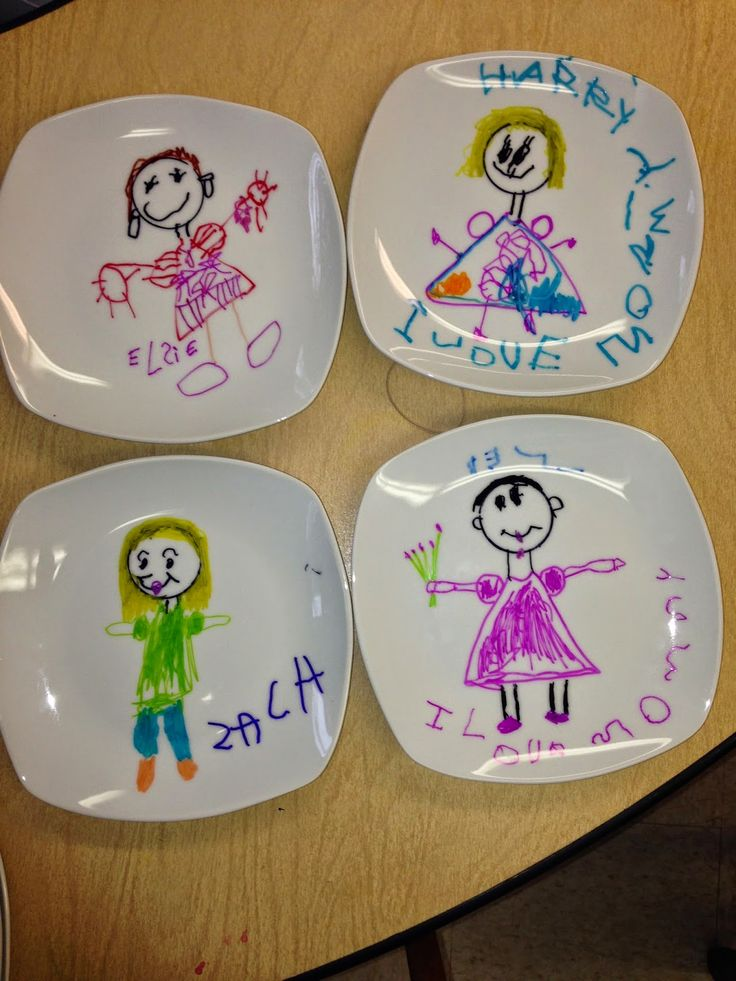Mrs. Goff's Pre-K Tales { I love how she got these little plates at the dollar store and had the kids draw on them...simple project}
