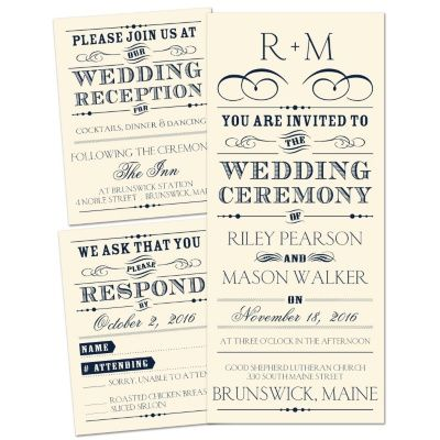 Leave it to Ann's Bridal Bargains to offer something this stylish for just $1.37 for the invite, reception card AND response card. nice!
