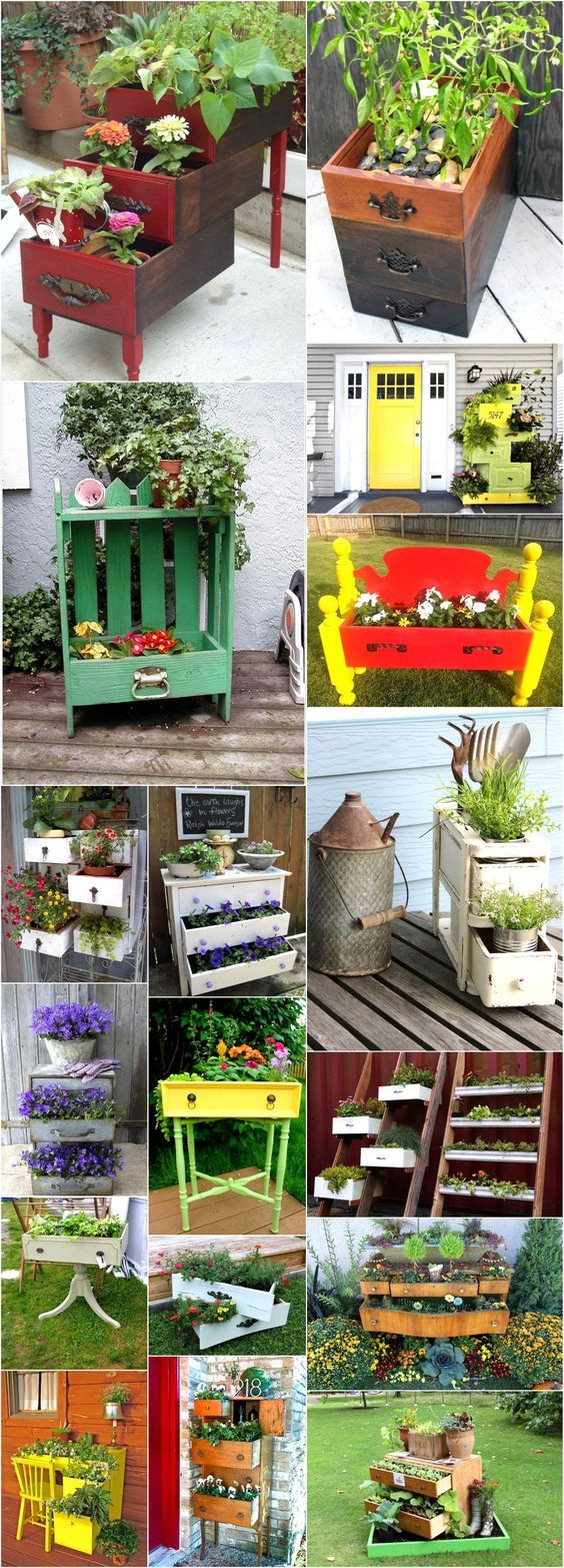 Its time to run up to your attic and look for your junk and thrown away old drawers or chest. You are luckier if you have an old dresser thrown away into your storeroom. Discover all those old fashioned or worn out drawers and turn them into something that will surely liven up your patio or indoor area. Enhance and beautify your home decor with these awesome ideas of planters with used drawers. If you have nothing of such kind in your storeroom than you can go to a yard sale or a flea…