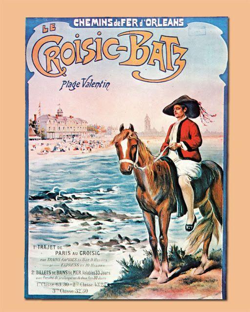 """Affiche retro vintage - """"Le Croisic - Batz-sur-Mer"""" - Chemins de fer d'Orléans"""