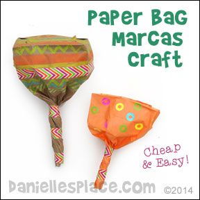 Paper Bag Maracs Craft from www.daniellesplace.com ©2014