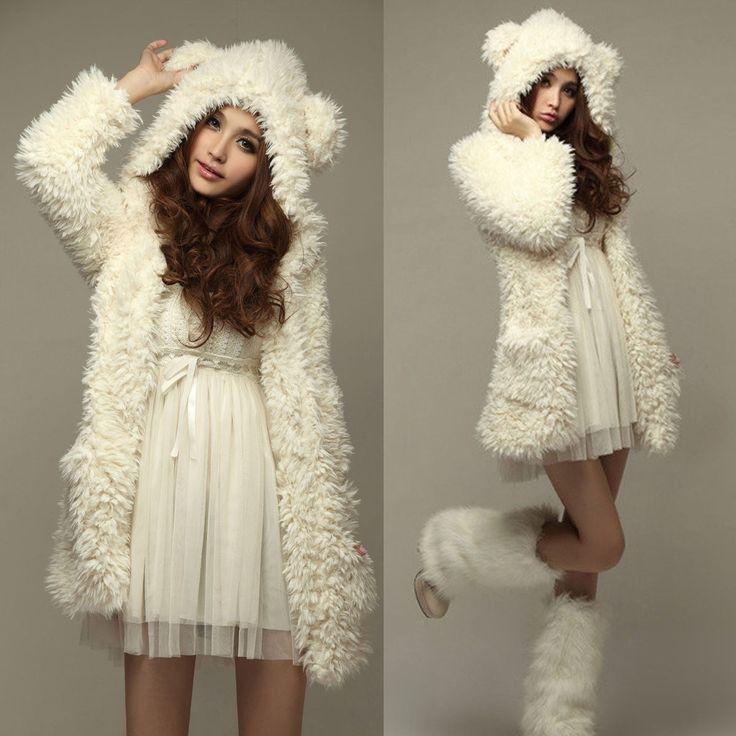 [$16.69] - Autumn Winter Women Fleece Coat Jackets Casual Bear Ear Hooded Long Sleeve Black Beige Outerwear Plus Size  S-3XL