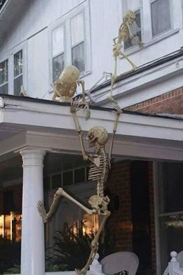 Go for this scary scene with skeletons climbing up to the bedroom window! Command™ Outdoor Large Graphite Designer Hooks can mount to your siding and then remove damage free when it's time to remove the scary!
