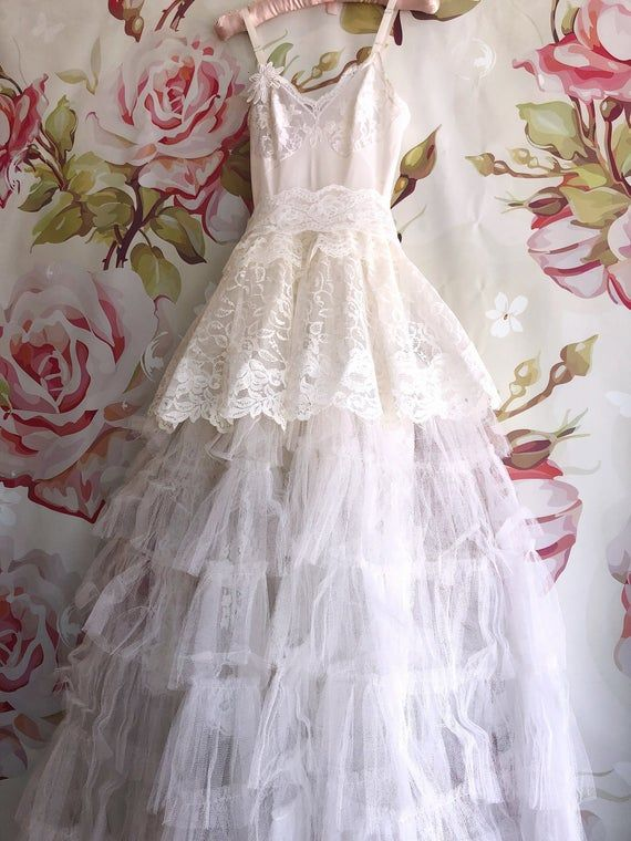 White Vintage Inspired Tiered Tulle Lace Boho Wedding Dress Etsy In 2020 Boho Wedding Dress Boho Wedding Dress Etsy Boho Wedding Dress Lace