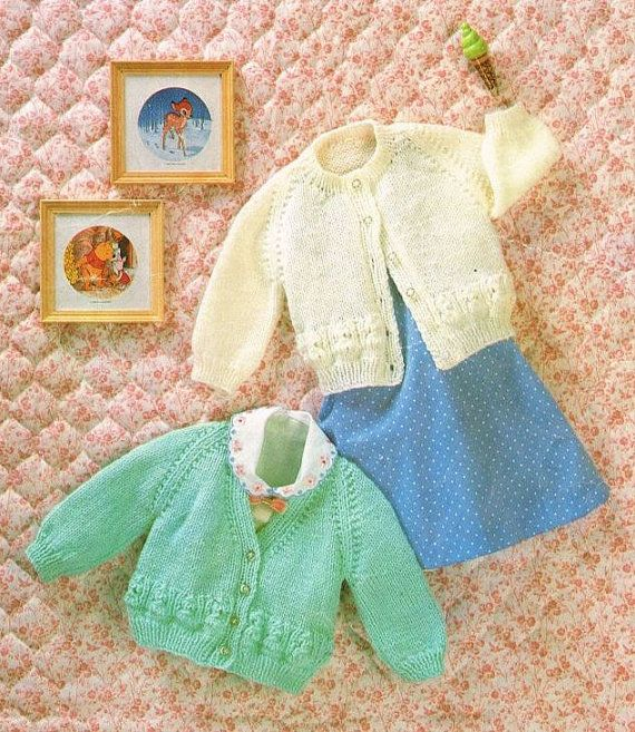 baby cardigans vintage knitting pattern PDF instant download 17 - 20 inch chest size double knitting wool PDF Instant download