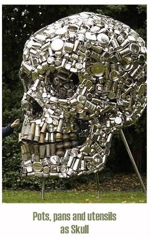 RECYCLED ART - POTS, PANS, FORMED INTO SKULL#STREET ART -> totenkopf aus wasserflaschen?