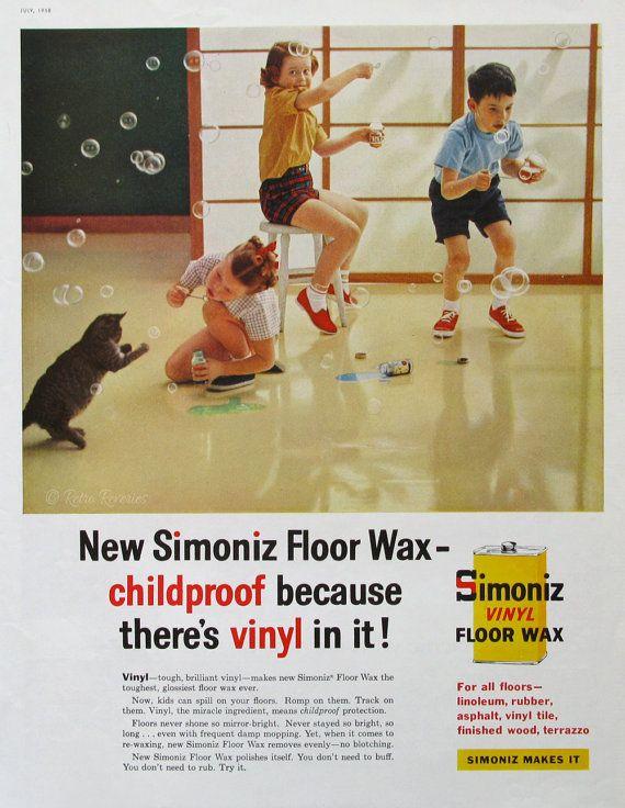 1959 Simoniz Ad - Vinyl-Boden-Wax - Kinder Blasen Blasen - Katze spielen - 1950er Jahre Housekeeping Ad - Midcentury America - glückliche Kinder spielen