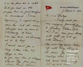 famous letters in history letter written on board rms titanic the letter to 21658