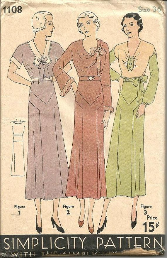 1920s Dress 3 Versions Neck Sleeve Variations Flared Skirt Drop Waist Simplicity 1108 ca. 1927-1929 Unused FF Women's Vintage Sewing Pattern