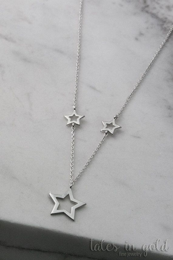 Star Necklace Gold Necklace 14 karat gold Minimal by TalesInGold