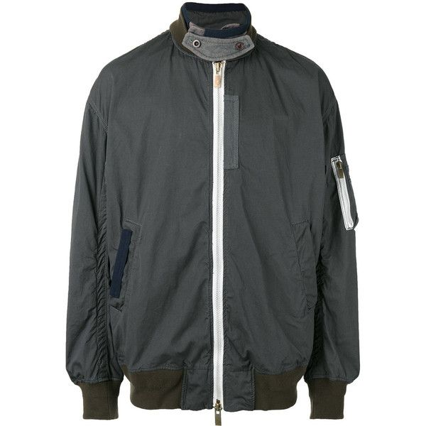 Sacai over-dyed bomber jacket (€1.270) ❤ liked on Polyvore featuring men's fashion, men's clothing, men's outerwear, men's jackets, grey, mens grey jacket, mens gray leather jacket, mens grey bomber jacket and mens short sleeve jacket