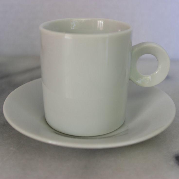 Vintage White Porcelain Demitasse Cups, Saucers and Plates, Set of 4, Modern Design by objectsofvirtu on Etsy