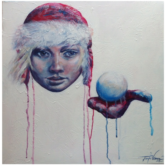 """Winter II"" Painting by Tanja Vean.  Project 4 color challenge."