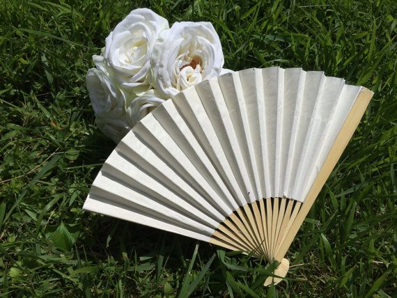 Ivory Wedding Paper Fans for Wedding Pictures by WeddingParasols