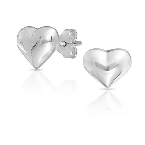 High Polished 925 Sterling Silver Puffed Heart Stud Earrings 8mm