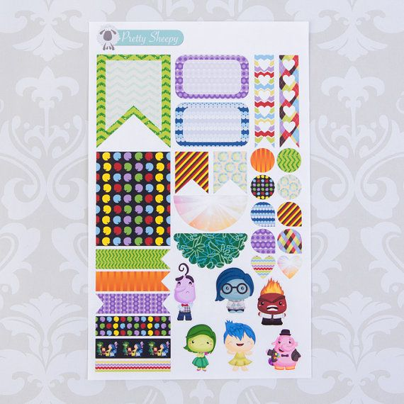 Inside Out Weekly Layout Sticker Set! Includes various stickers to decorate your planner in an Inside Out theme! The boxes fit the vertical planner