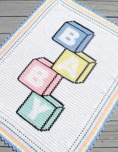 Crochet Patterns Baby Blocks Color Graph Afghan Pattern   eBay $4.95