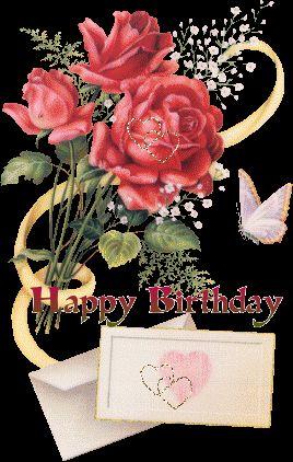 Mensagens com Flores Animadas - Happy Birthday - ツ Imagens de Feliz Aniversário ツ