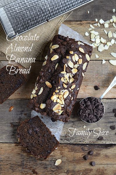 Skinny Whole Wheat Chocolate Almond Banana Bread. Would definitely substitute some of these ingredients- olive oil to coconut oil, whole wheat flour to spelt flour, sugar to coconut sugar etc