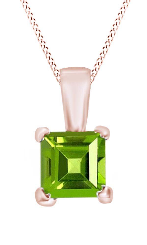 Princess Cut Solitaire Peridot August Birthstone Pendant Necklace In 10K Rose Gold (5 Cttw). Adds A Touch Of Nature-Inspired Beauty To Your Look Princess Cut Solitaire Pendant Necklace In 10K Rose Gold Makes a Standout Addition to Your Collection with 5 Carat August Birthstone Peridot. Gold is a dense, soft, shiny, malleable, and ductile metal, Gold is a synonym for wealth and money even though in the modern world it is neither. Perfect gift idea for Christmas, party, wedding, engagement...