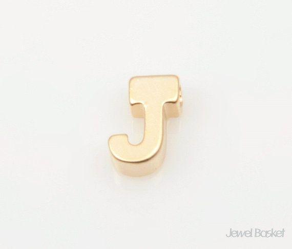 "Matte Gold Alphabet - 2pcs Capital Letter ""J""  - Matte Gold Plated (Tarnish Resistant) - Brass / 5mm x 7mm  - 2pcs / 1pack"