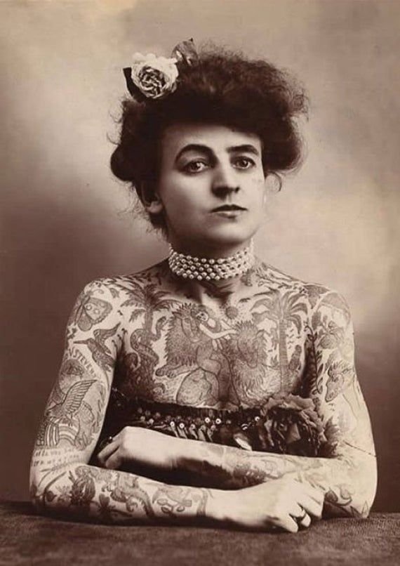 Tattooed Lady 1900s Tattoos, Circus, Performer, Historical, Black and white, old, vintage antique, p
