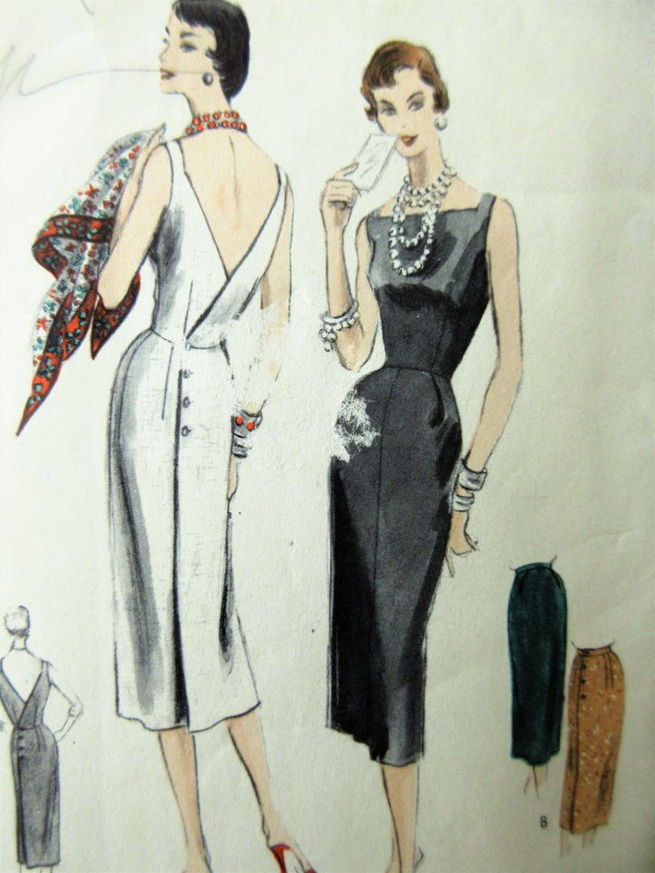 Vintage Vogue 8522 Sewing Pattern, 1950s Wiggle Dress, Bust 28, 1950s Sewing…