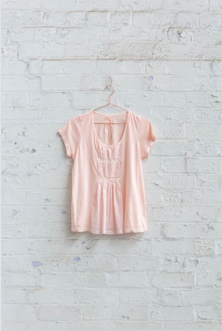 the maya tee 100% cotton jersey with pleated voile insert $129.00
