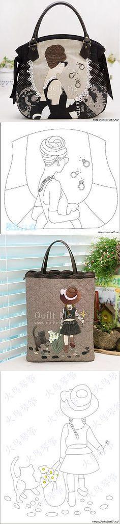 Аппликация на сумочках.