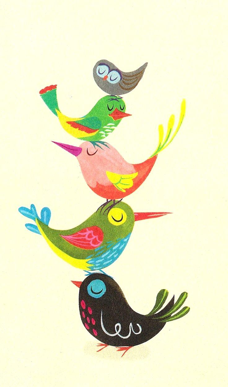 """""""The Brightest, Chattiest Birds."""" Detail from Hallmark card, illustrator unknown. birds Tower"""