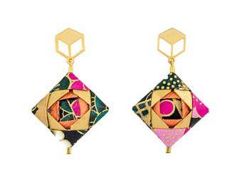 Mosaic Earrings  Origami Earrings; Origami Jewelry, Origami Jewellery; Origami; Paper Jewelry; Washi Paper; Japan; Handmade Jewelry; Girlfriend Gift