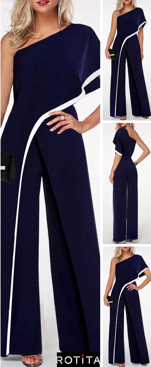 One Shoulder Contrast Trim Navy Blue Jumpsuit