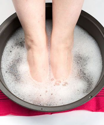 At home pedicure soak | 5 Tbsp baking soda. 1.5 C vinegar. hot water. soak for thirty minutes. pumice. lotion.