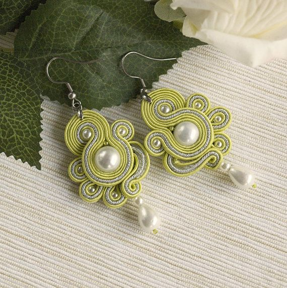 Light green dainty soutache earrings white pearl drop