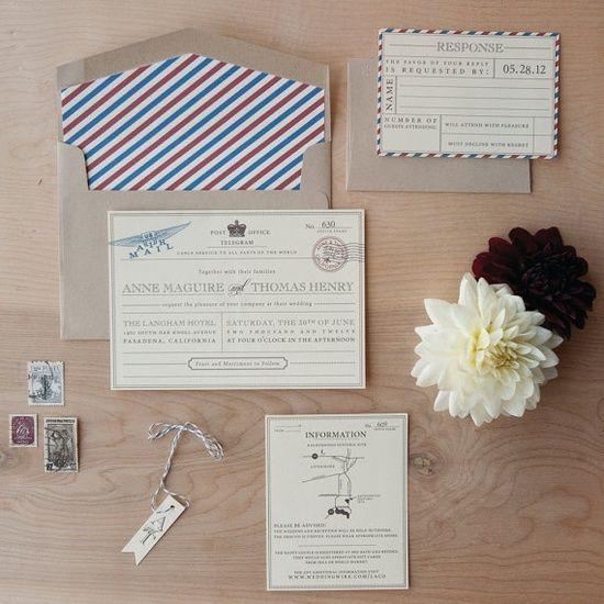 Vintage Travel Wedding Invitation  vintage by JenSimpsonDesign, $4.65