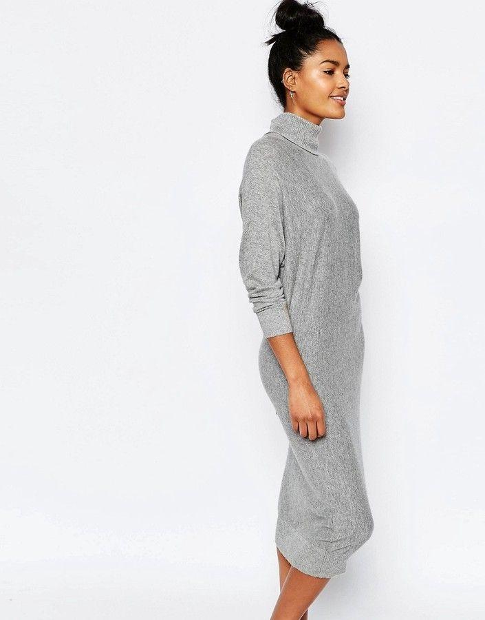 Stitch & Pieces - Pulloverkleid mit Rollkragen - Hellgrau