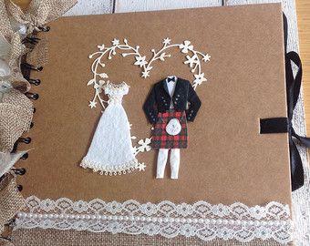Personalised Wedding scrapbook /album /guestbook / Scottish kilt
