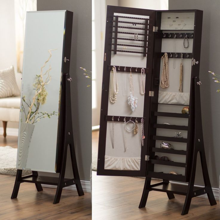 Belham Living Large Standing Mirror Locking Cheval Jewelry Armoire - Espresso - You'll love being able to see how you look as you try on your jewelry in front of the Belham Living Large Standing Mirror Locking Cheval Jewelry Armoi...