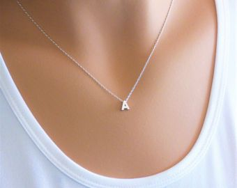 100% Sterling Silver Initial Necklace Personalized Initial