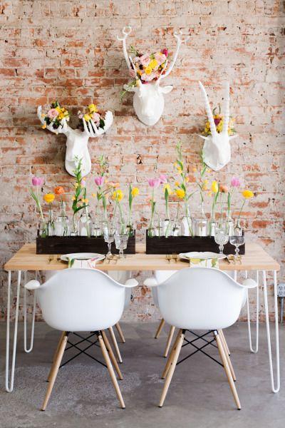 Modern loft table inspiration: http://www.stylemepretty.com/colorado-weddings/denver/2015/03/09/modern-mid-century-wedding-inspiration/ | Photography: Rachel Havel - http://rachelhavel.com/