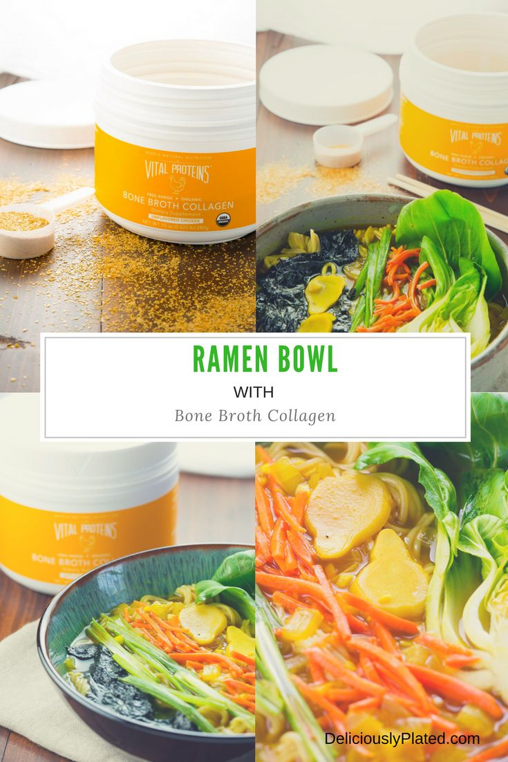 This comforting #ramen bowl with #bonebroth #collagen boasts an amazing nutritional punch all while being its delicious comforting self! #sponsored @vitalproteins via @leslie9612