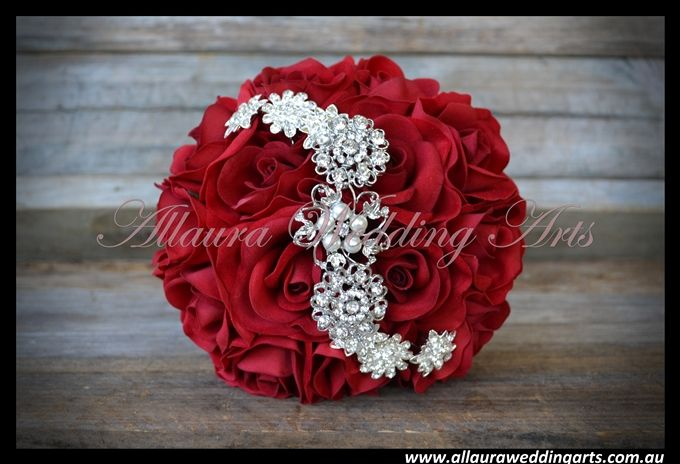 wedding red brooch bouquet | in Striking Red Roses with diamantie and Pearl brooches. This Bouquet ...