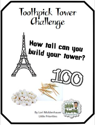 Toothpick and Marshmallow Tower Challenge   Stop on over to pick up a packet to assist you with building a toothpick tower with marshmallows. Your class will have an engaging experience they won't forget!  Included in the packet are website links questions to get your students planning and drawing their towers and post question activities!  Can't wait to have you stop by!  100th day 2nd grade 3rd grade Engineering Little Priorities